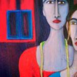 Deux femmes, une identité - 2007 - mixte sur toile - 92cm x 46cm