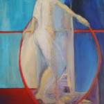 Femme au cerceau rouge devant le fleuve -2008-mixte sur toile-91.44cm x 67cm