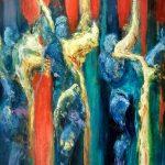 The Blue Messengers, 2016 Huile sur terraskin marouflé sur bois 76.20cm x 50.80cm