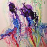 Deux flammes en violet, 2018 Aquarelle et encre acrylique sur terraskin marouflé sur bois 63,5cm x 50,8 cm